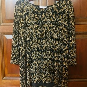 Black and Gold Embroidered Tunic EUC